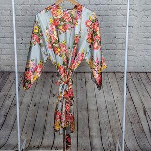 Satin Floral Kimono Robe